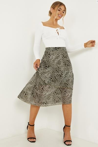 Petite Khaki Chiffon Animal Midi Skirt